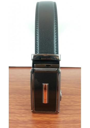 1030-10  Мъжки колан от естествена кожа в черно - автоматичен