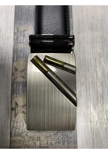 1060-17  Мъжки колан от естествена кожа с плочка в черно - автоматичен