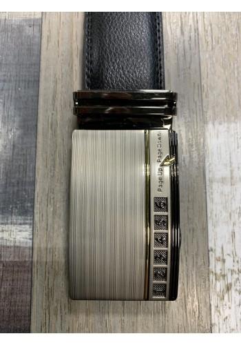 1060-18  Мъжки колан от естествена кожа с плочка в черно - автоматичен