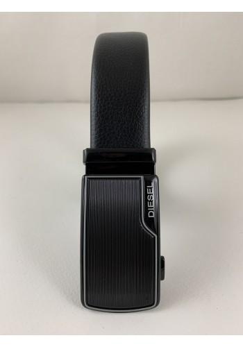 1060-21  Мъжки колан от естествена кожа с плочка в черно - автоматичен