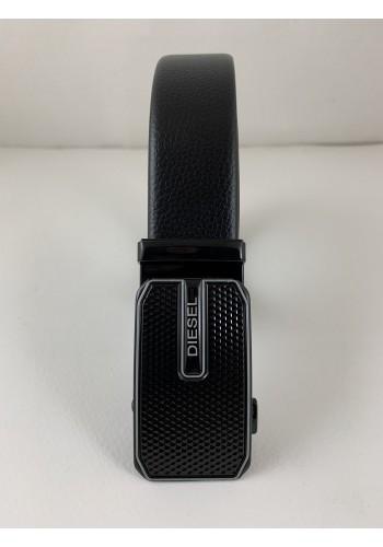 1060-22  Мъжки колан от естествена кожа с плочка в черно - автоматичен