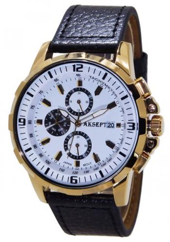 1101-7  Мъжки часовник  AKSEPT с кожена каишка