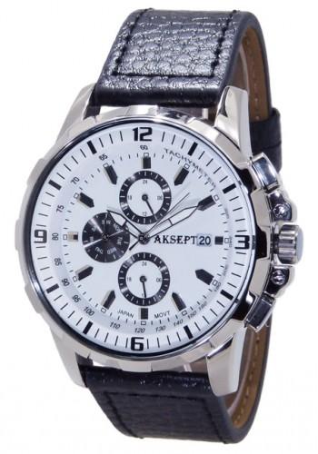 1101-9  Мъжки часовник  AKSEPT с кожена каишка