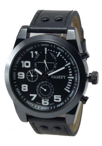 1140-1 Мъжки часовник AKSEPT с кожена каишка