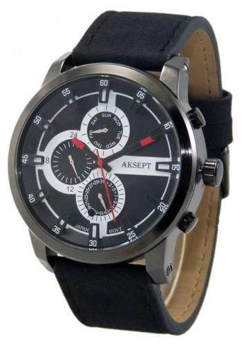 1144-1  Мъжки часовник  AKSEPT с кожена каишка
