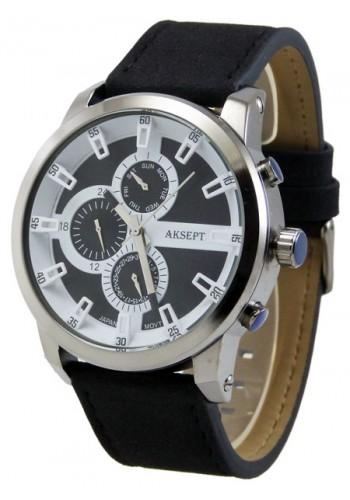 1144-2  Мъжки часовник  AKSEPT с кожена каишка