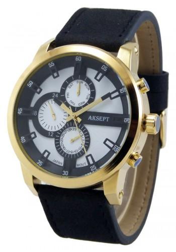 1144-3  Мъжки часовник  AKSEPT с кожена каишка