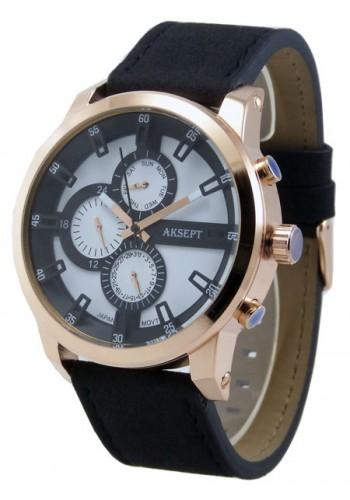 1144-4  Мъжки часовник  AKSEPT с кожена каишка