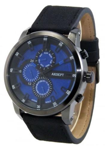 1144-5  Мъжки часовник  AKSEPT с кожена каишка