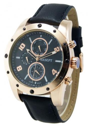 1147-3 Мъжки часовник AKSEPT с кожена каишка