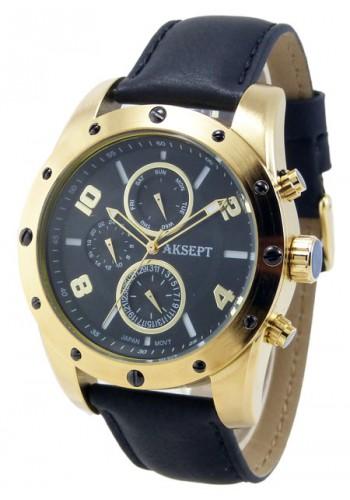 1147-4 Мъжки часовник AKSEPT с кожена каишка