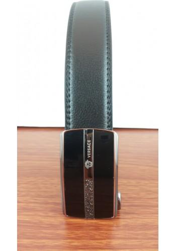 1030-12  Мъжки колан от естествена кожа в черно - автоматичен
