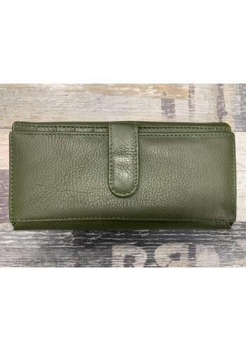 SLW 50 - Дамски портфейл от естествена кожа в зелено с много отделения