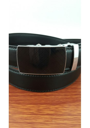 1030-18  Мъжки колан от естествена кожа в черно - автоматичен