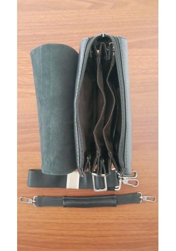 S 8025-0 Мъжка чанта от естествена кожа изчистен модел с шахматен ефект за през рамо
