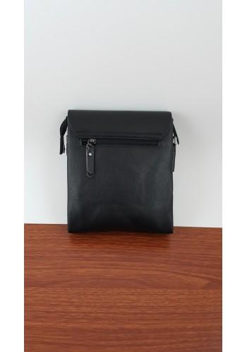 S 6001-1 Мъжка чанта от естествена кожа изчистен модел с плочка за през рамо