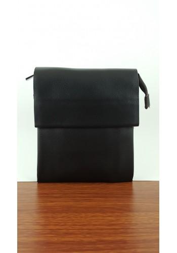 SB 8026-0 Мъжка чанта от естествена кожа изчистен модел за през рамо и в ръка в тъмно кафяво