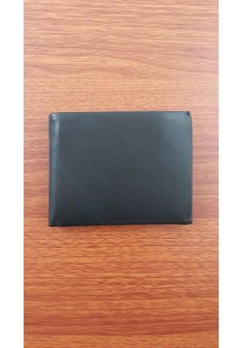 SJ 1120 Мъжки портфейл от естествена кожа в черно с външен монетник