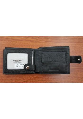 SA 1059  Мъжки портфейл от естествена телешка кожа в черно с много отделения