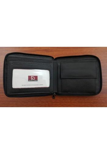 S 2006 Мъжки портфейл от естествена телешка кожа в черно