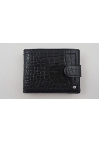 Мъжки портфейл COSSET от италианска естествена кожа в черно с кроко ефект и много отделения