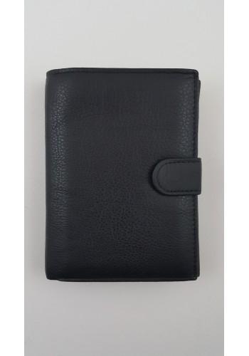 SM 1  Мъжки голям портфейл - ВЕРТИКАЛЕН от естествена телешка кожа в черно с много отделения за карти