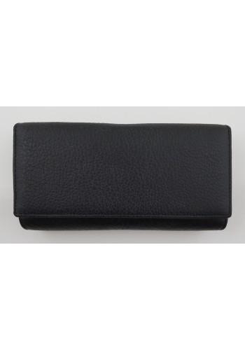 SLW 50 - Дамски портфейл от естествена кожа в черно с много отделения