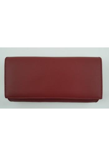 SLW 50 - Дамски портфейл от естествена кожа в цвят бордо с много отделения
