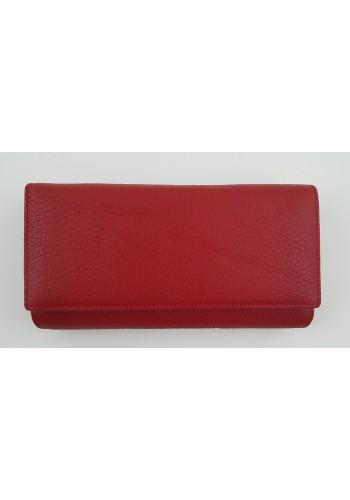 SLW 50 - Дамски портфейл от естествена кожа в червено с много отделения