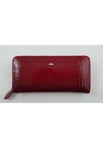 SAE 38-1 - Дамски портфейл от лакирана естествена кожа в червено и затваряне с цип