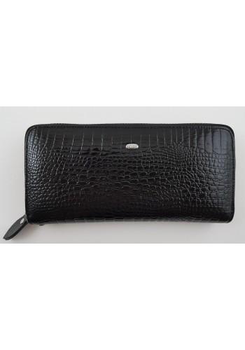 SAE 38-1 - Дамски портфейл от лакирана естествена кожа в черно и затваряне с цип