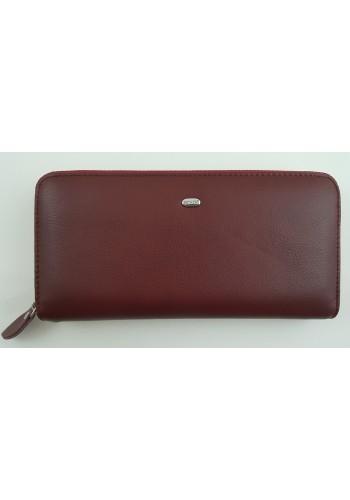 SW 38-1 - Дамски портфейл от естествена кожа в цвят бордо и затваряне с цип