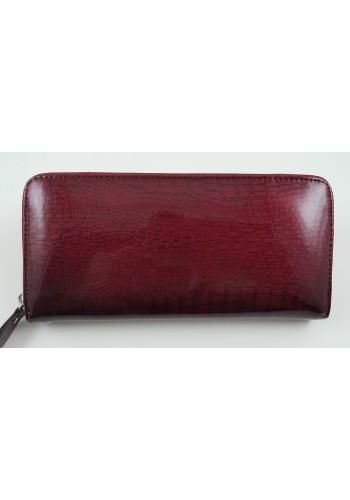 SAE 38-1 - Дамски портфейл от лакирана естествена кожа в цвят бордо и затваряне с цип