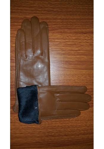 LUX 042   Дамски ръкавици от фина - лицева естествена кожа в кафяво