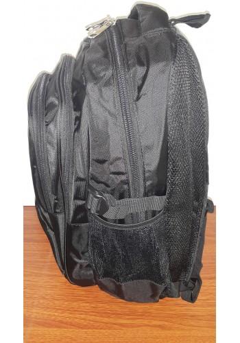 3723 Спортна текстилна раница с три прегради в черно
