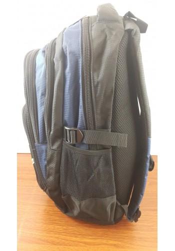 9919 Спортна текстилна раница с три прегради в синьо - черен цвят