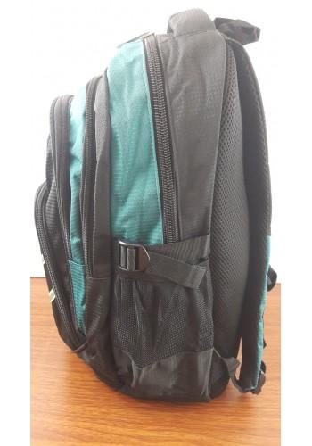 9919 Спортна текстилна раница с три прегради зелено - черен цвят