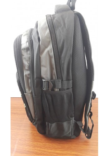 9919 Спортна текстилна раница с три прегради сиво - черен цвят