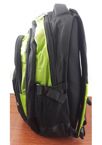 9919 Спортна текстилна раница с три прегради електриково зелено - черен цвят