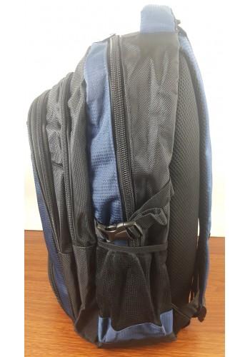 S 9182 Спортна текстилна раница с три прегради в синьо - черен цвят