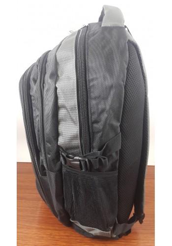 S 9182 Спортна текстилна раница с три прегради в сиво - черен цвят
