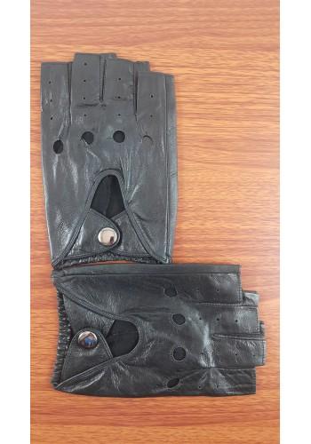 S 18153  Мъжки шофьорски ръкавици от естествена ярешка кожа в черно