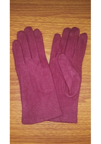 S 18050 Луксозни дамски ръкавици от естествен плетен кашмир в цвят бордо