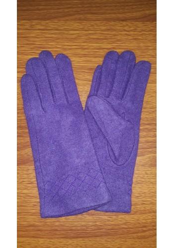 S 18050 Луксозни дамски ръкавици от естествен плетен кашмир в лилав цвят