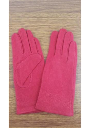S 18050 Луксозни дамски ръкавици от естествен плетен кашмир в червено