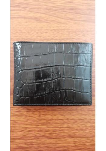 S 022-1 Мъжки портфейл BIZON от естествена  кожа с кроко в черно с много отделения