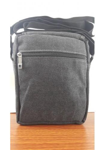 S 0398 Мъжка текстилна чанта за през рамо от брезентов плат в черно - универсална