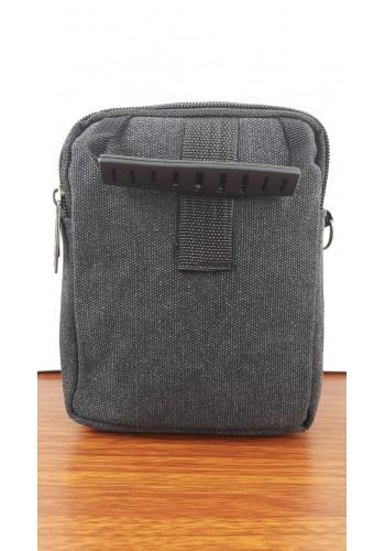 S 1099  Мъжка текстилна чанта за през рамо и в ръка от брезентов плат в черно - универсална