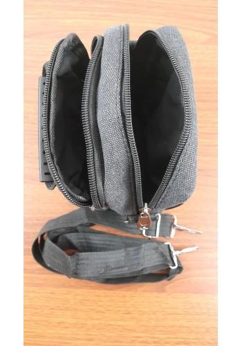 S 1112  Мъжка текстилна чанта за през рамо и в ръка от брезентов плат в черно - универсална