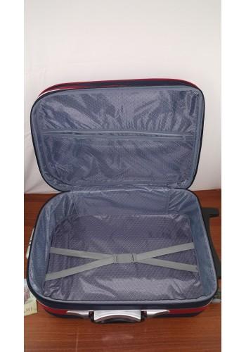 ST 104751 Текстилен куфар с външен механизъм олекотен - среден размер ''M'' в синьо червен цвят